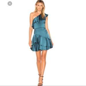 Sale Halston heritage satin ruffle blue dress